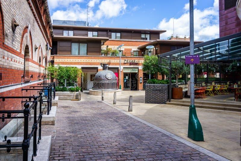 De regeneratie van het stadscentrum van Eldridge Pope Brewery Site Dorchester Dorset royalty-vrije stock foto