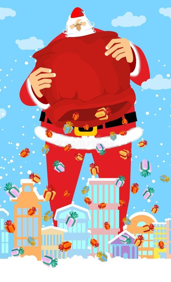 De regengiften van Santa Claus en van de zak in stad Kerstmis in stad sneeuw vector illustratie