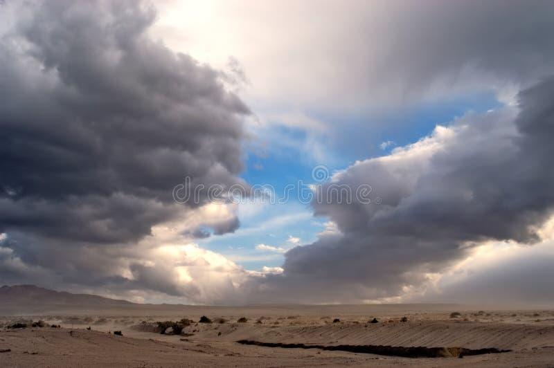 De regenonweer van de woestijn royalty-vrije stock afbeeldingen