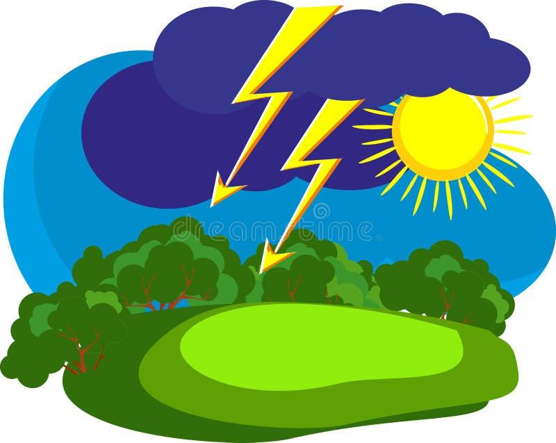 De regenonweer van de zomer in het platteland vector illustratie