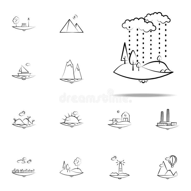 de regenpictogram van de wolkenboom Voor Web wordt geplaatst dat en het mobiele algemene begrip van Landspacepictogrammen vector illustratie