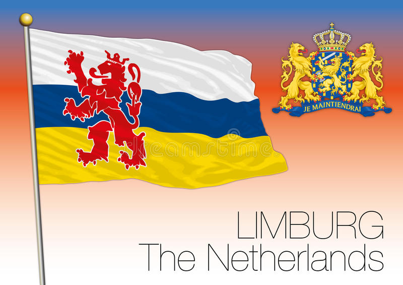 De regionale vlag van Limburg, Nederland, Europese Unie vector illustratie