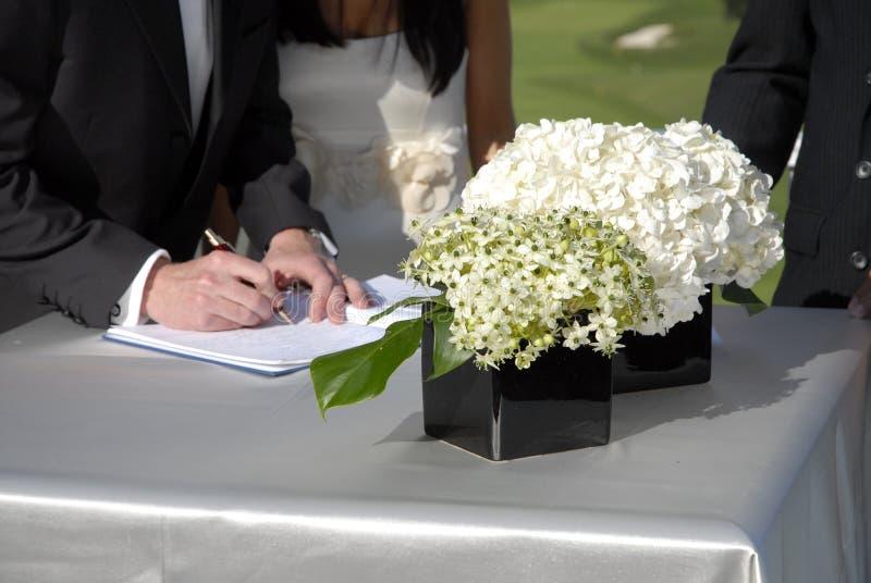 De Registratie van het huwelijk stock afbeeldingen