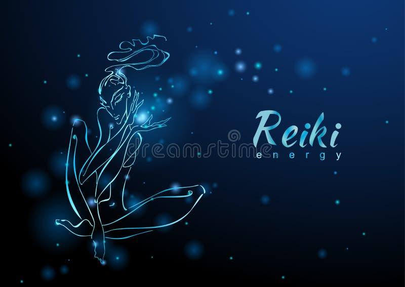 De Reiki-Energie Het meisje met de stroom van energie meditatie Alternatieve geneeskunde esoterisch Vector stock illustratie