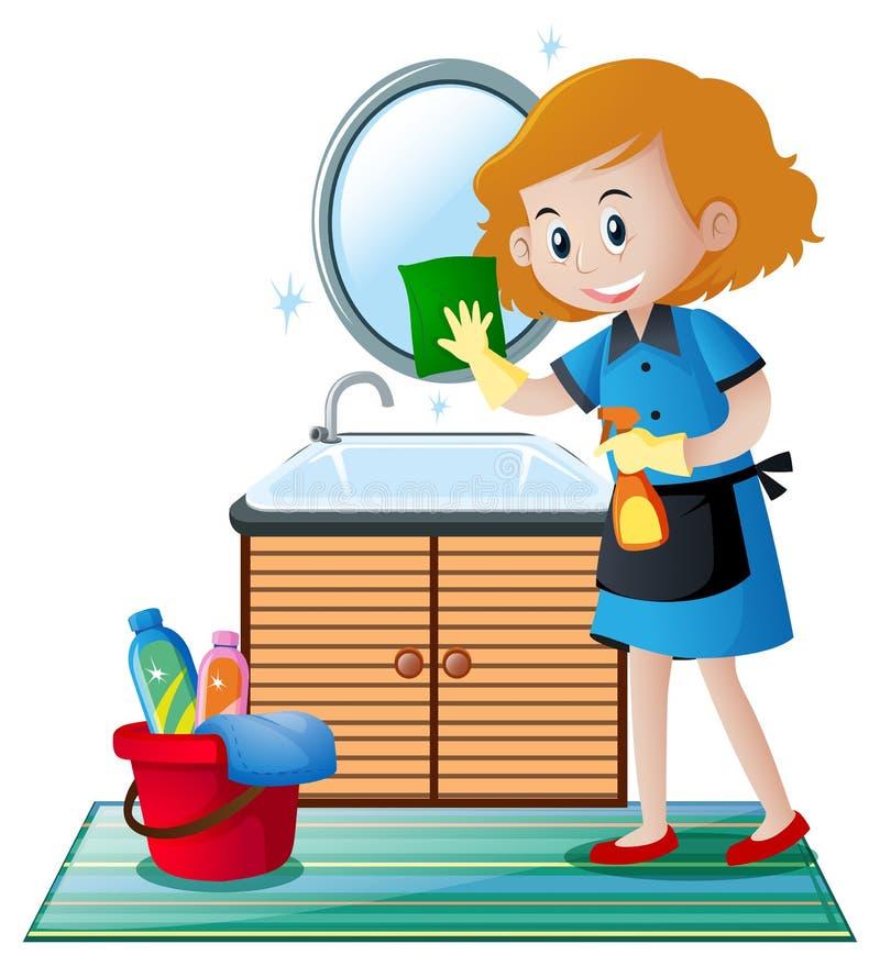 De reinigingsmachine die het toilet schoonmaken vector illustratie