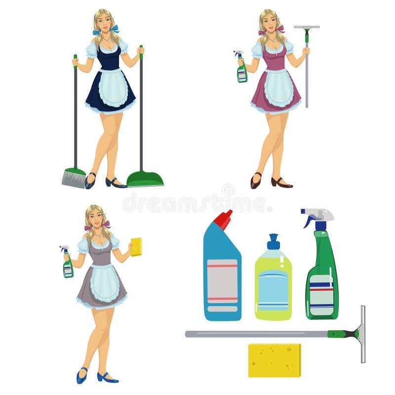 De reinigingsmachine van het meisjesmeisje royalty-vrije illustratie