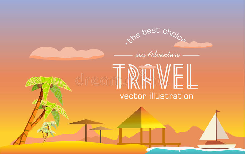 De reis aan een tropisch eiland vector illustratie