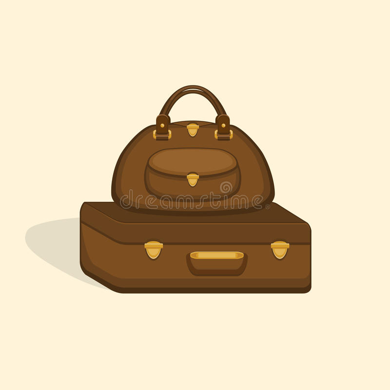 De reis doet koffers met schaduw in zakken royalty-vrije illustratie