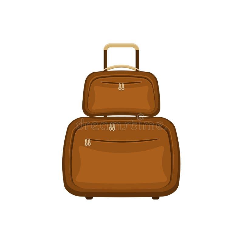 De reis doet koffers op geïsoleerde witte achtergrond in zakken Het handvatbagage van de de zomer bruine reis Het moderne Concept vector illustratie