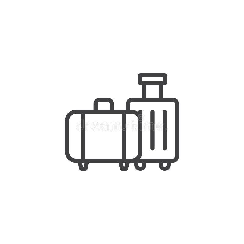 De reis doet lijnpictogram in zakken royalty-vrije illustratie