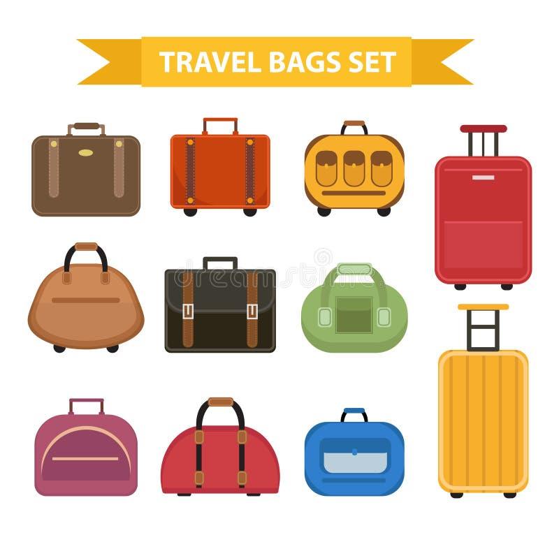 De reis doet pictogramreeks, vlakke die stijl in zakken, op een witte achtergrond wordt geïsoleerd Inzamelings verschillende koff stock illustratie