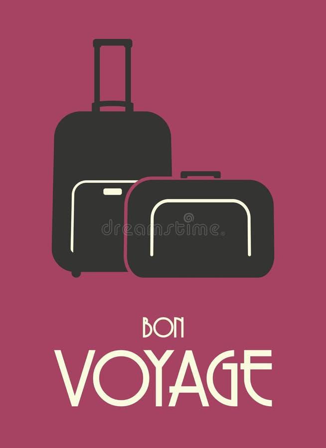 De reis doet retro affiche in zakken royalty-vrije illustratie