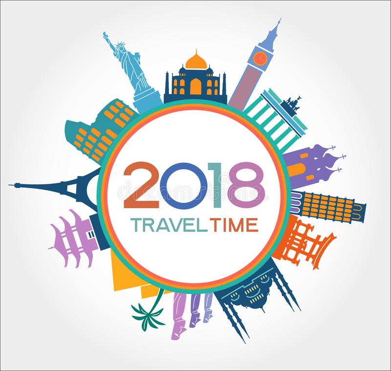 De reis en het gelukkige nieuwe jaar 2018 ontwerpen achtergrond met pictogrammen en toerismeoriëntatiepunten royalty-vrije illustratie
