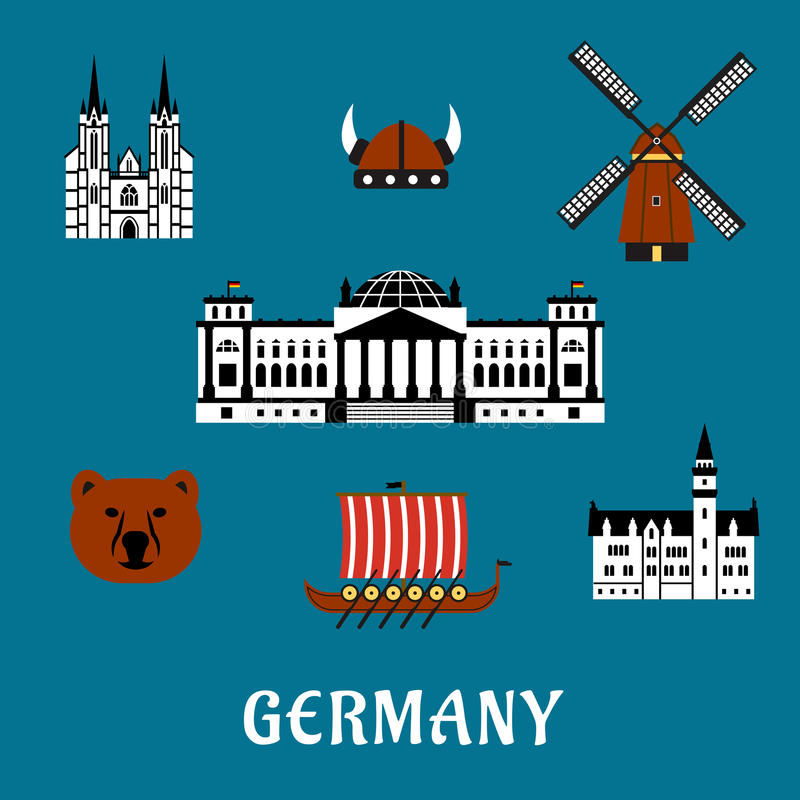 De reis en het toerisme vlakke pictogrammen van Duitsland vector illustratie