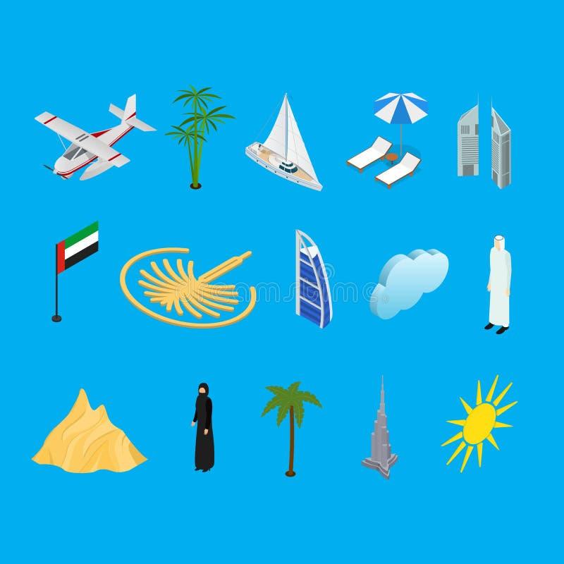 De Reis en het Toerismepictogrammen 3d Isometrische Mening van Doubai de V.A.E Vector stock illustratie