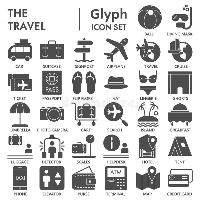 De reis glyph ONDERTEKENDE pictogramreeks, de inzameling van vakantiesymbolen, vectorschetsen, embleemillustraties, het vaste lic royalty-vrije illustratie