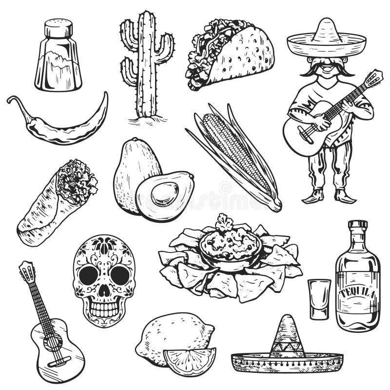 De reis naar van de het Voedselcultuur van Mexico de Hand van de de Drankkeuken trekt vectorpictogrammen stock illustratie