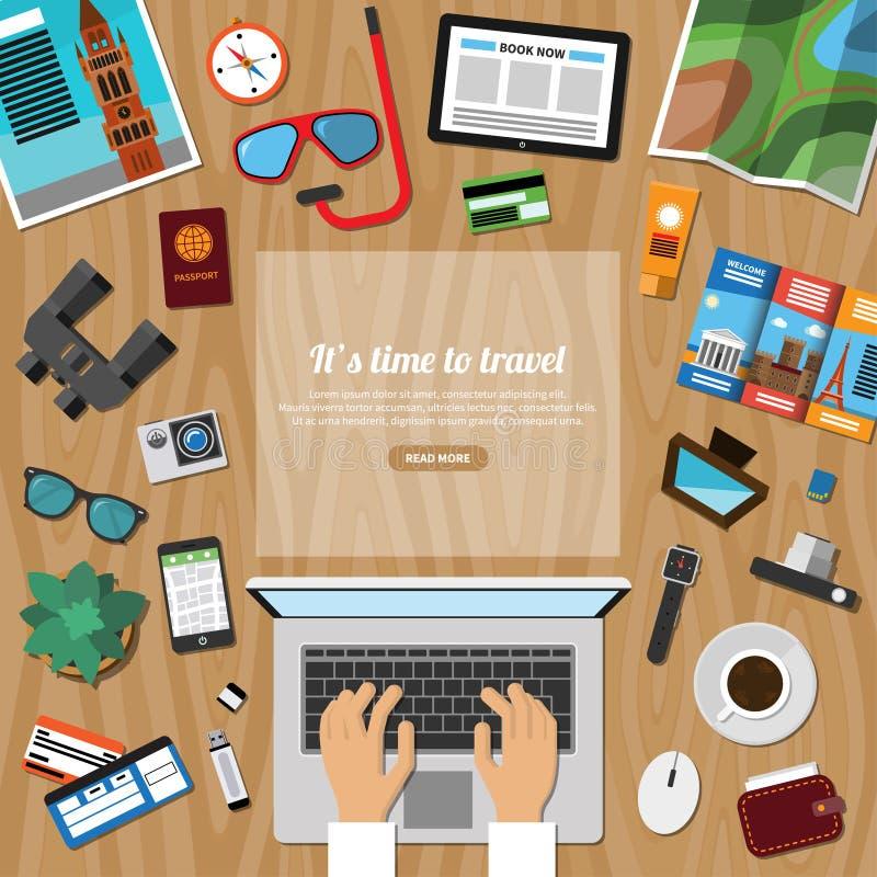 De reis, toerisme, de zomervakantie planning, ontdekt de wereld stock illustratie