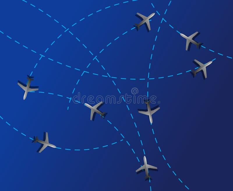 De reis van de lucht. De gestippelde lijnen zijn vliegroutes royalty-vrije illustratie