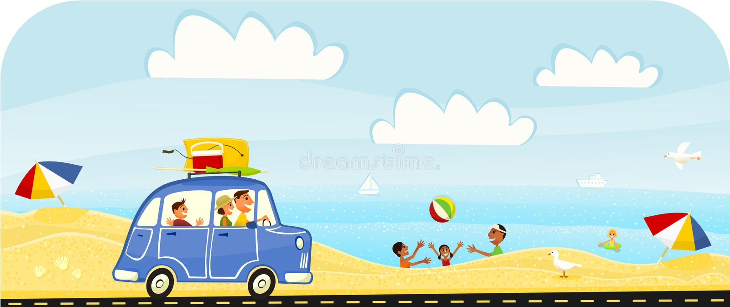 De Reis van de Vakantie van de zomer aan het Strand stock illustratie