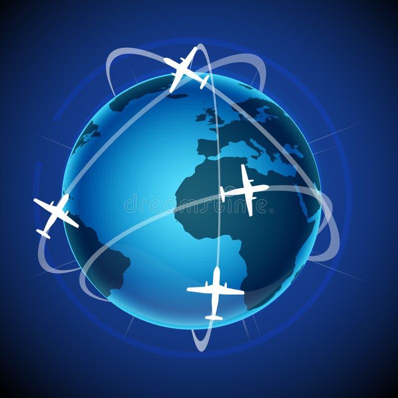 De reis van de wereld met bol en vliegtuig vector illustratie