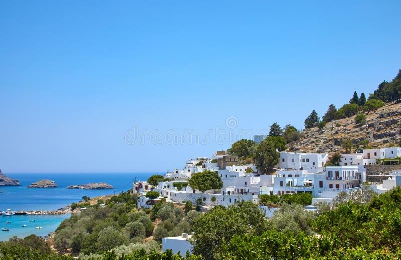 De reis van Griekenland in de zomer, Lindos-stad van Rhodos-eiland, architectur royalty-vrije stock foto's