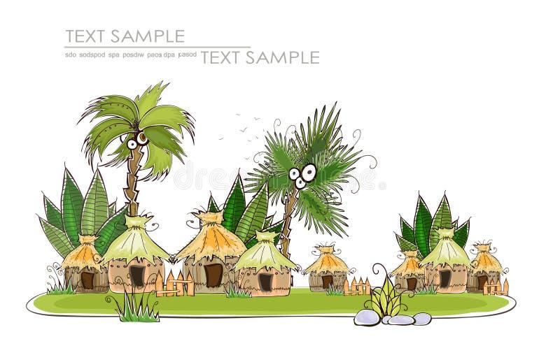 De Reis van het achtergrond paradijseiland Gelukkige wereldinzameling vector illustratie