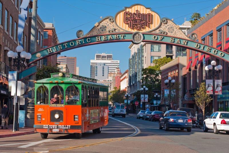 De Reis van het karretje in District Gaslamp in San Diego stock foto's