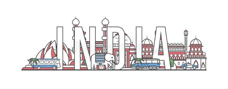 De reis van India het van letters voorzien in lineaire stijl vector illustratie