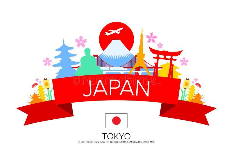 De Reis van Japan Tokyo, Oriëntatiepunten royalty-vrije illustratie