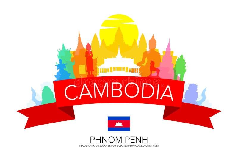 De Reis van Kambodja Phnom Penh vector illustratie