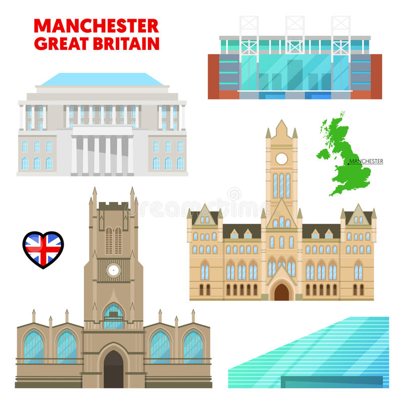 De Reis van Manchester met Architectuur wordt geplaatst die Bezoek Groot-Brittannië royalty-vrije illustratie