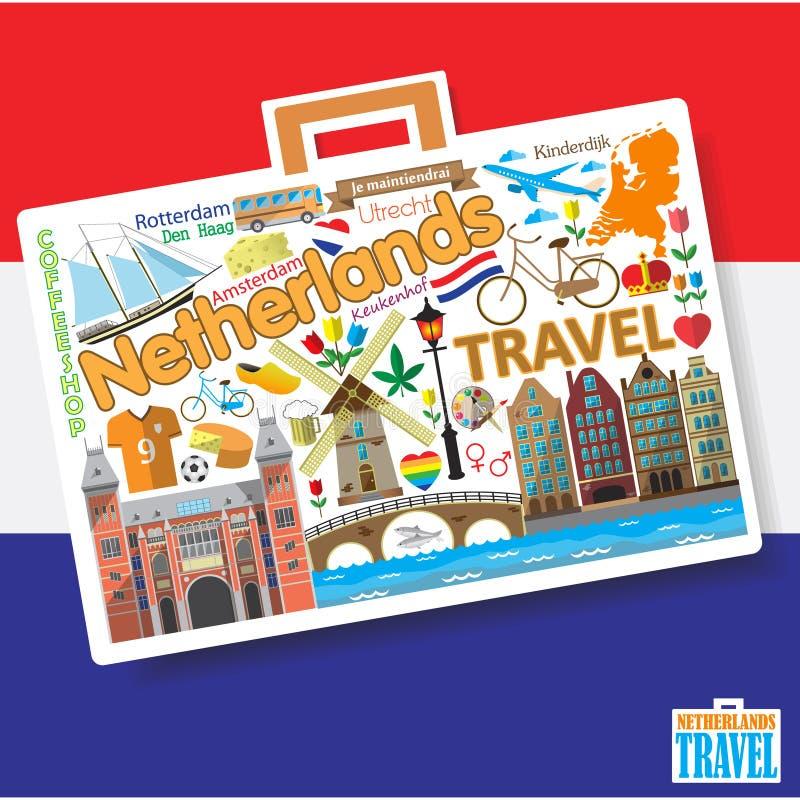 De reis van Nederland Vastgestelde vectorpictogrammen en symbolen in vorm van koffer royalty-vrije illustratie