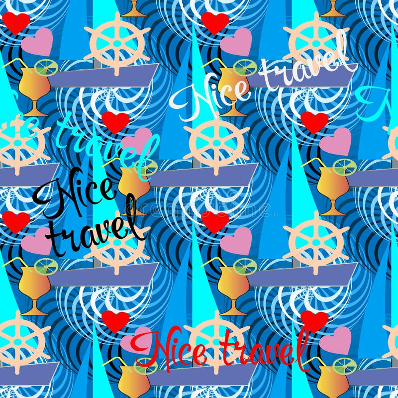 De Reis van Nice Kleurrijk de zomer naadloos patroon Vector vakantieachtergrond Sier herhaal achtergrond Modern helder ornament m royalty-vrije illustratie