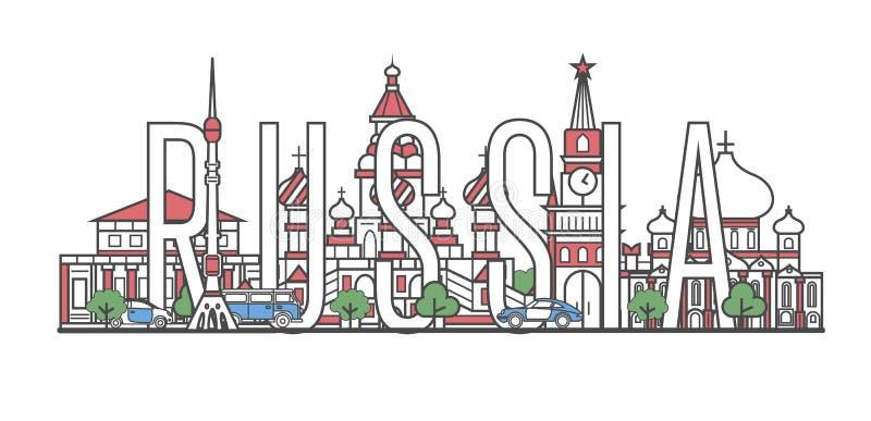 De reis van Rusland het van letters voorzien in lineaire stijl vector illustratie