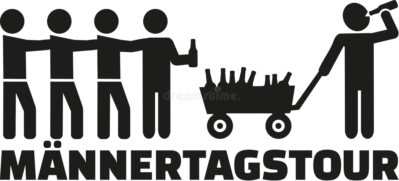 De reis van de vadersdag met stootkar en bier het Duits royalty-vrije illustratie