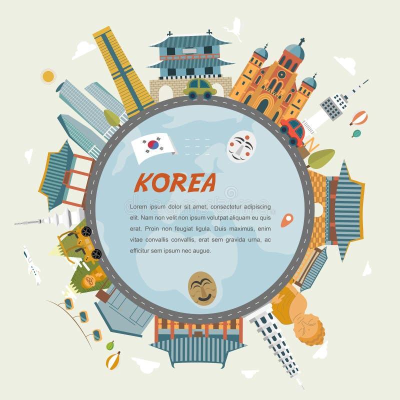De reis van Zuid-Korea vector illustratie