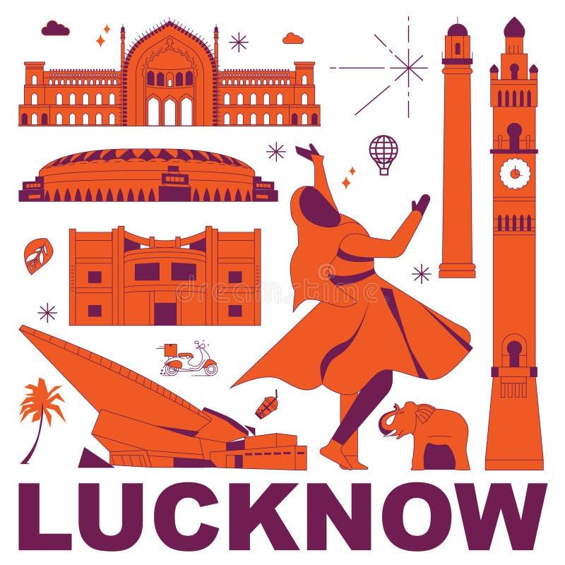 De reis vastgestelde vectorillustratie van de Luknowcultuur royalty-vrije stock foto