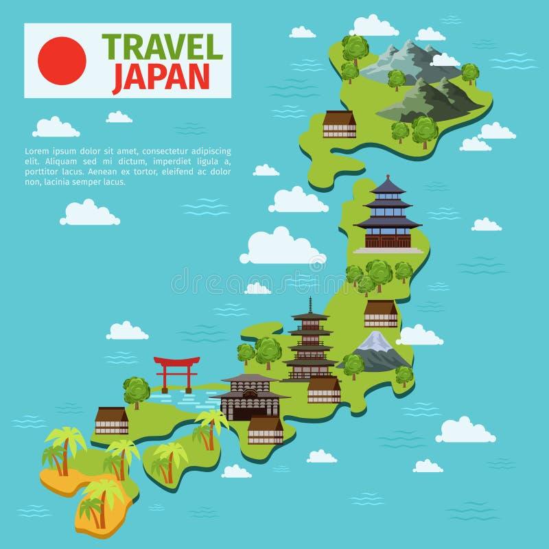De reis vectorkaart van Japan met traditionele Japanse oriëntatiepunten stock illustratie