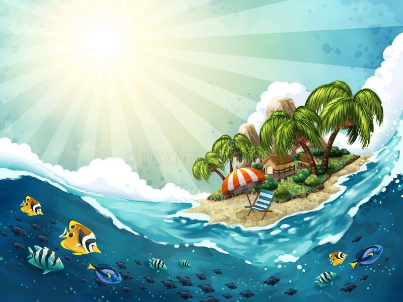 De Reisachtergrond van het de zomereiland vector illustratie