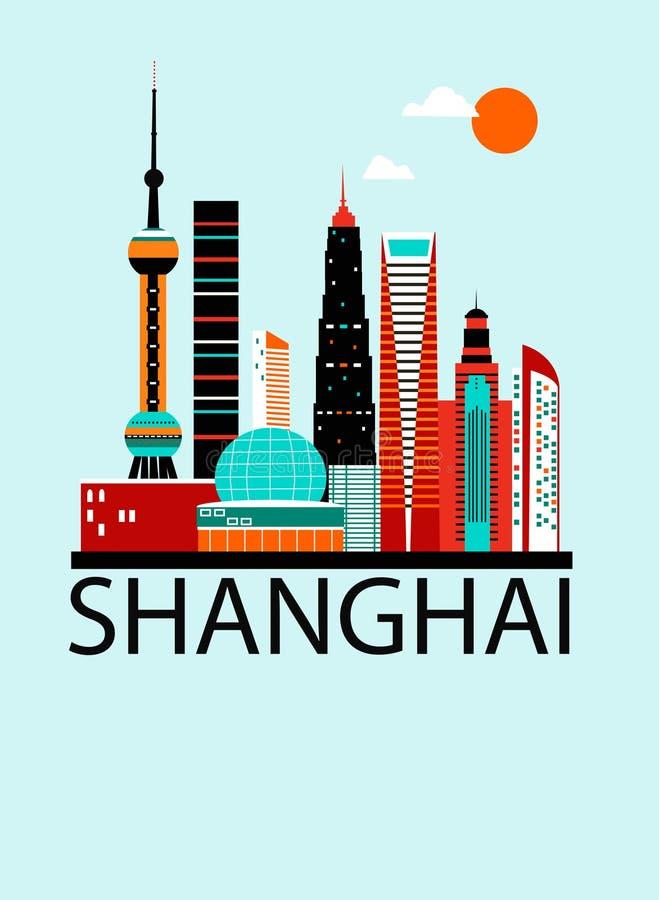 De reisachtergrond van Shanghai China royalty-vrije illustratie