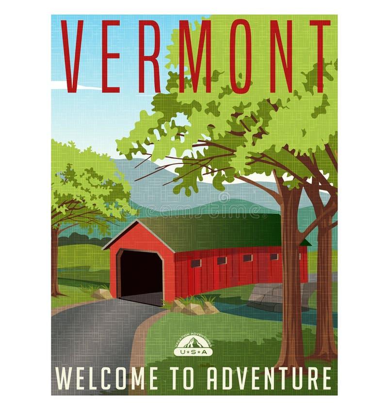 De reisaffiche of sticker van Vermont vector illustratie