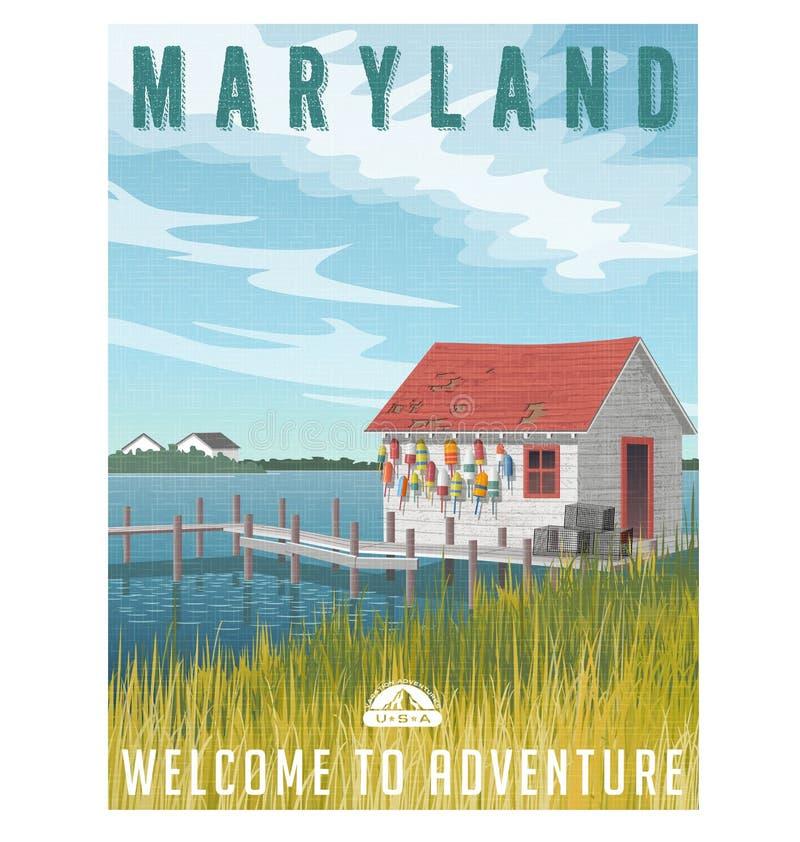 De reisaffiche van Maryland De visserij van keet met krabvallen en boeien royalty-vrije illustratie