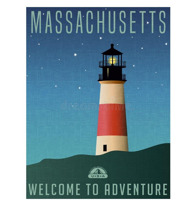 De reisaffiche van Massachusetts, Verenigde Staten of bagagesticker