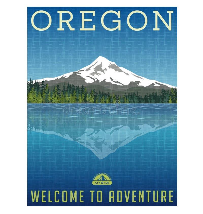 De reisaffiche van Oregon, Verenigde Staten stock illustratie