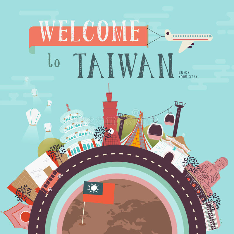 De reisaffiche van Taiwan stock illustratie