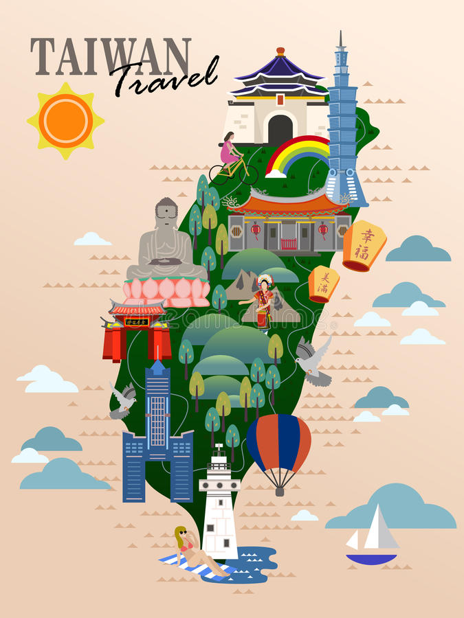 De reisaffiche van Taiwan vector illustratie