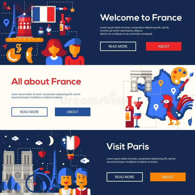 De reisbanners van Frankrijk met beroemde Franse symbolen worden geplaatst dat vector illustratie