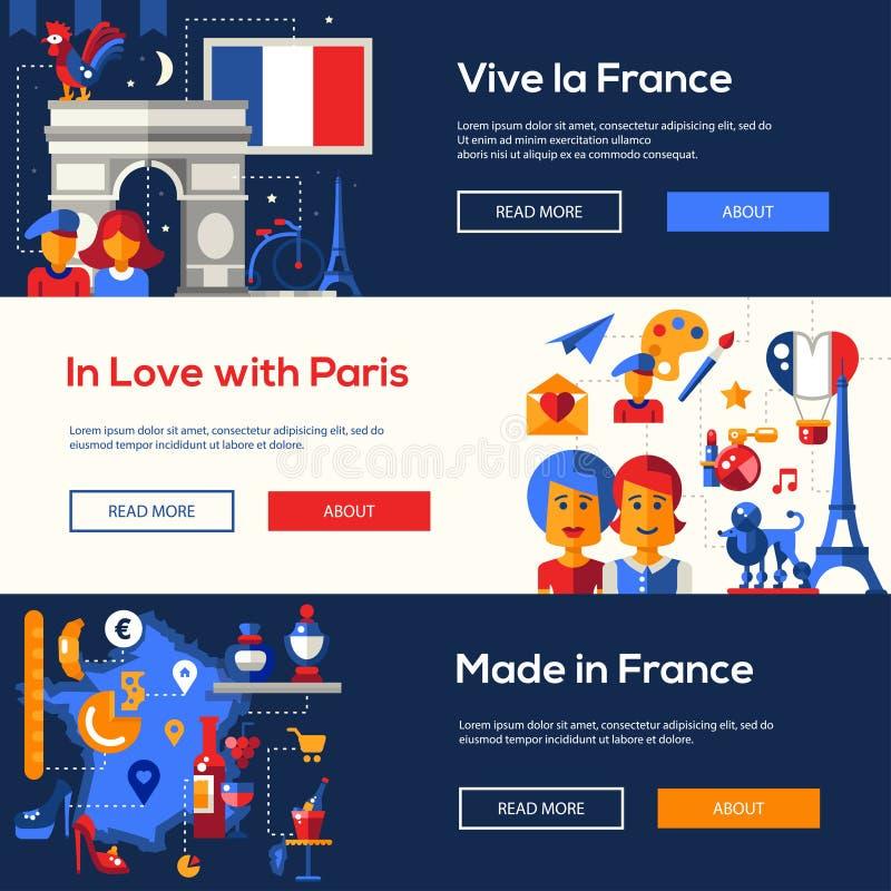 De reisbanners van Frankrijk met beroemde Franse symbolen worden geplaatst dat royalty-vrije illustratie