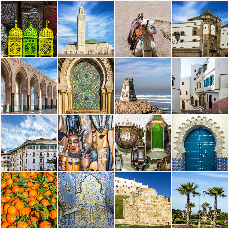 De reiscollage van Marokko - Marokkaanse oriëntatiepunten van Casablanca, Tange royalty-vrije stock foto